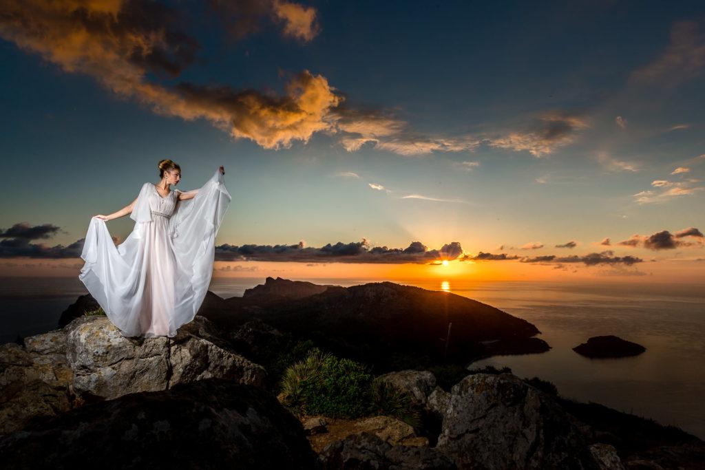 Braut bei Sonnenaufgang - epische Fotos